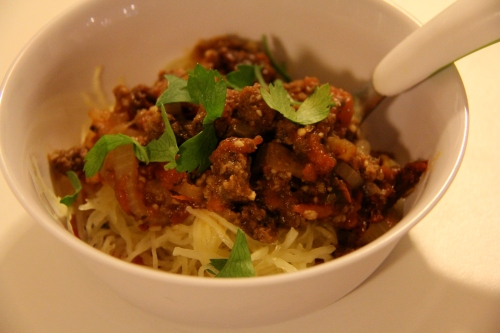 ADD DESIRED TOPPINGS OR SAUCE. (PICTURED: MEATY TOMATO SAUCE OVER SQUASH NOODLES FOR MY 2 YEAR OLD.)