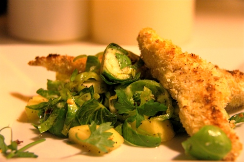 coconut chicken with brussels sprouts salad